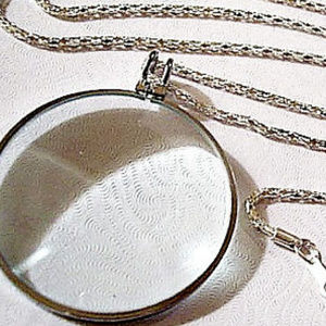 """Magnify Magnify Glass Pendant 36"""" Necklace Silver"""